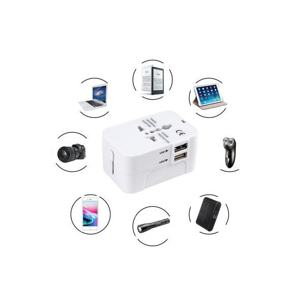 海外安全旅行充電器 コンパクトな コンセント 2USBポート変換プラグ 電源プラグ 旅行アダプター 壁の充電器 NONNBIRI(ホワイト)|aobashop|07