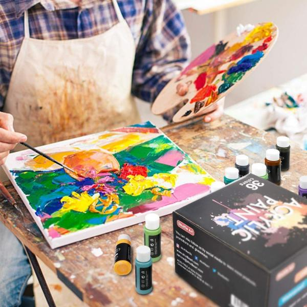 Shuttle Art アクリル絵の具 アクリル顔料 36色セット メタリック色 速乾 防水 耐久 60ml パレット ブラシ付き 布/ガラス/陶器に|aobashop|04