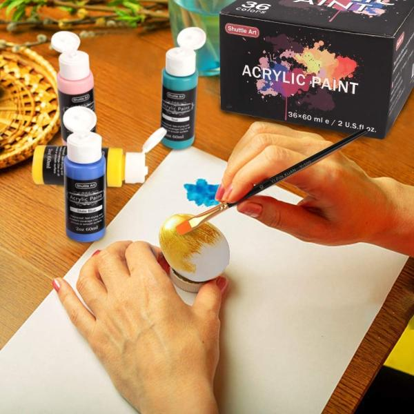 Shuttle Art アクリル絵の具 アクリル顔料 36色セット メタリック色 速乾 防水 耐久 60ml パレット ブラシ付き 布/ガラス/陶器に|aobashop|05