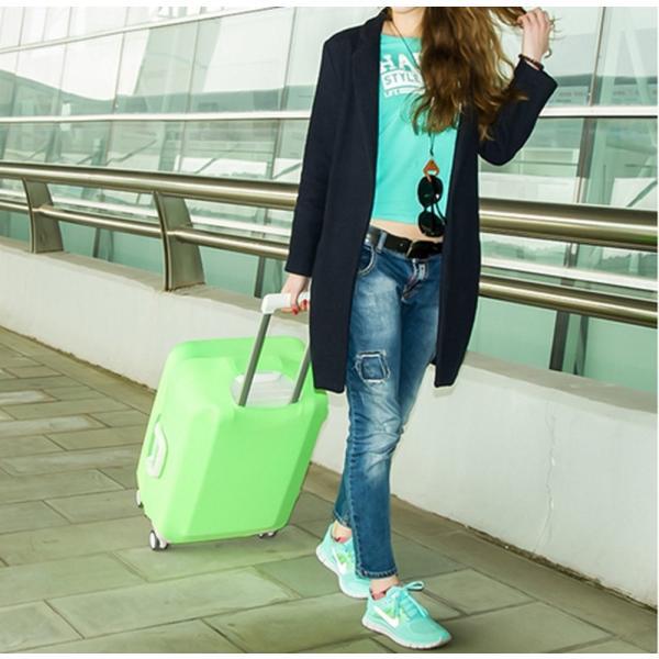 スーツケースカバー 伸縮素材 【DauStage】 キャリーケース バッグ カバー 選べる 8色 3サイズ ナイロン製リュック付き (03,グリーン |aobashop|06