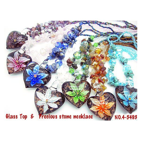ネックレス ペンダント モザイク ガラス ハート トップ 天然石 トルコ石 アメジスト ラピスラズリ ローズクォーツ ハンドメイド 4-5493