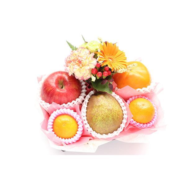 【青木フルーツ】口福フルーツギフト&フラワーA[洋梨 りんご 柿 みかん](常温便)