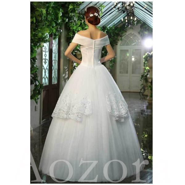 ウェディングドレス 二次会 ウエディングドレス ロング 二次会ドレス パーティードレス ロングドレス 花嫁ドレス カラードレス 大きいサイズ 結婚式 白 ホワイト|aozoras|05