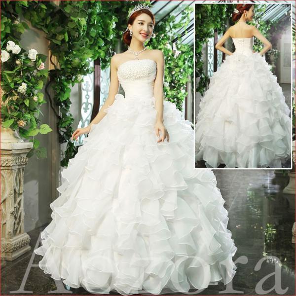 ウェディングドレス 二次会 ウエディングドレス ロング 二次会ドレス パーティードレス ロングドレス 花嫁ドレス カラードレス 大きいサイズ 結婚式 白 ホワイト|aozoras