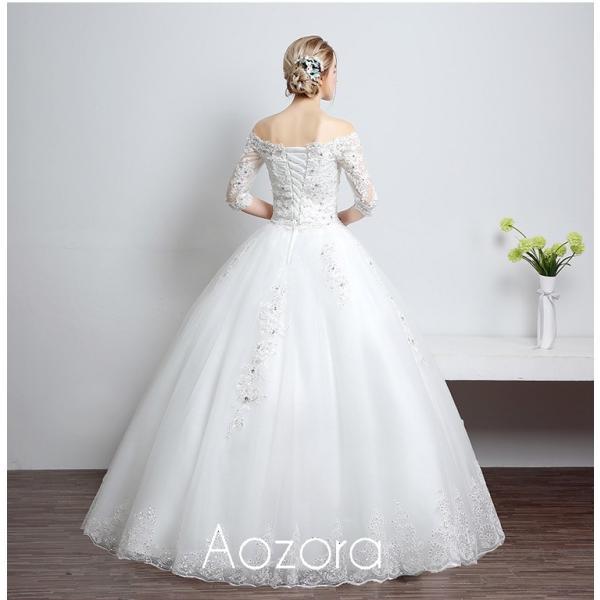 ウェディングドレス 二次会 ウエディングドレス ロング 二次会ドレス パーティードレス ロングドレス 花嫁ドレス カラードレス 大きいサイズ 結婚式 白 ホワイト aozoras 05
