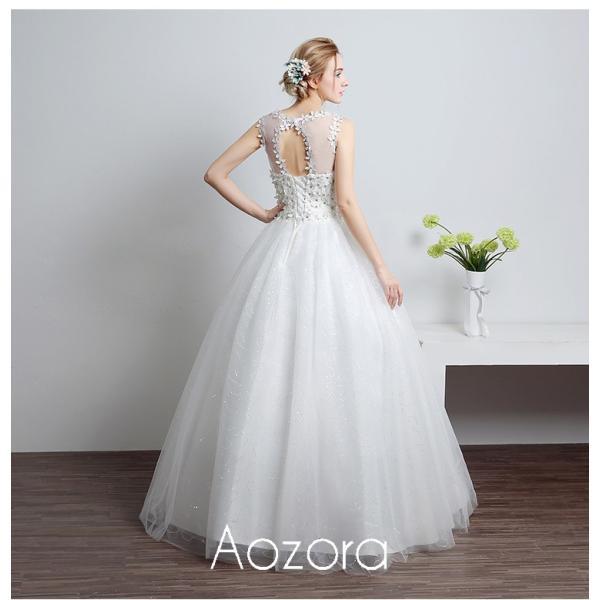 ウェディングドレス 二次会 ウエディングドレス ロング 二次会ドレス パーティードレス ロングドレス 花嫁ドレス カラードレス 大きいサイズ 結婚式 白 ホワイト|aozoras|04