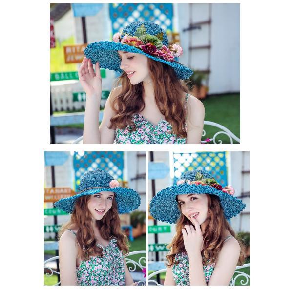 帽子 レディース ハット UV 春 夏 つば広 女優帽 ストローハット 折りたたみ UVカット 大きいサイズ 紫外線 対策 サンバイザー 麦わら帽子 ワイドハット 春秋 aozoras 04