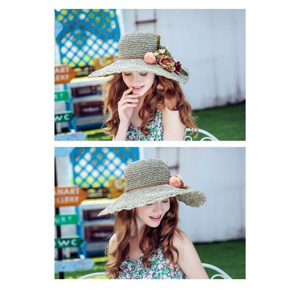 帽子 レディース ハット UV 春 夏 つば広 女優帽 ストローハット 折りたたみ UVカット 大きいサイズ 紫外線 対策 サンバイザー 麦わら帽子 ワイドハット 春秋 aozoras 05