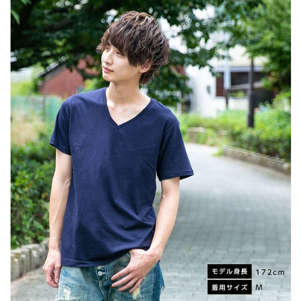Vネック メンズ 半袖 Tシャツ ONZ ポッキリ コットン100 カットソー ネイビー 作業服 作業用シャツ インナー 送料無料|ap-b|04