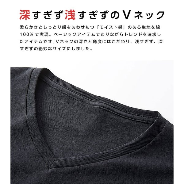 Vネック メンズ 半袖 Tシャツ ONZ ポッキリ コットン100 カットソー ネイビー 作業服 作業用シャツ インナー 送料無料|ap-b|06