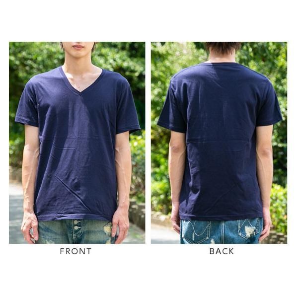 Vネック メンズ 半袖 Tシャツ ONZ ポッキリ コットン100 カットソー ネイビー 作業服 作業用シャツ インナー 送料無料|ap-b|08