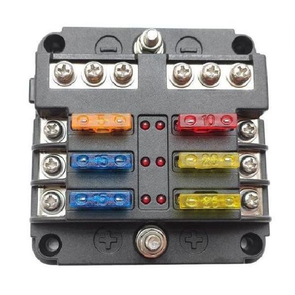 AL 6ウェイ ヒューズ ボックス 陰極 LED ランプ 適用: オート RV ボート マリン トラック 防水 ヒューズ タイプ001 AL-JJ-4579