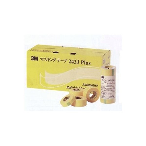 スリーエム/3M マスキングテープ 243J Plus 黄色 巾40mm×長さ18m 3M243J40P 入数:3ロール