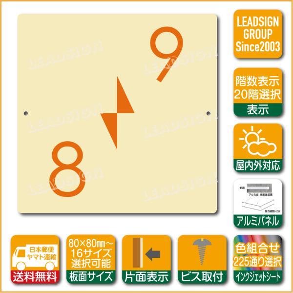 階数表示板 右回り階段 踊り場 階数 表示 アルミパネル サイン プレート 印刷付 c2 デザイン ビス穴有り 安全標識 看板 DIY 建築 建設