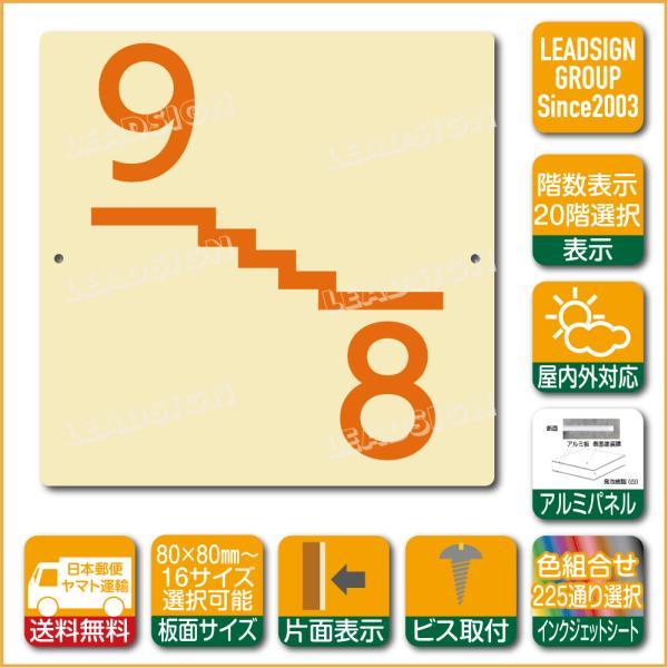 階数表示板 左回り階段 踊り場 階数 表示 アルミパネル サイン プレート 印刷付 e1 デザイン ビス穴有り 安全標識 看板 DIY 建築 建設