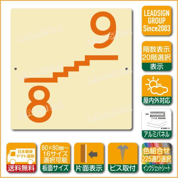 階数表示板 右回り階段 踊り場 階数 表示 アルミパネル サイン プレート 印刷付 f1 デザイン ビス穴有り 安全標識 看板 DIY 建築 建設