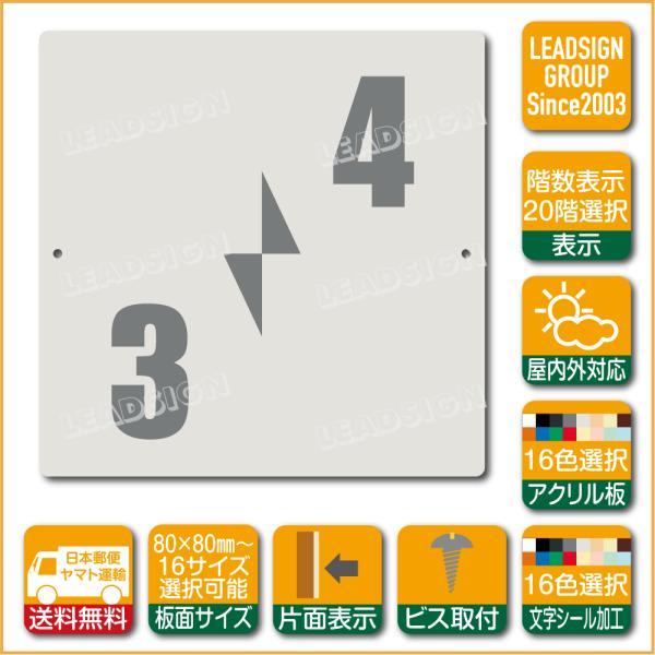 階数表示板 右回り階段 踊り場 アクリル サイン プレート カッティング シート 切文字貼り 階数 表示 a2 デザイン ビス穴有り 安全標識 看板 DIY 建築 建設