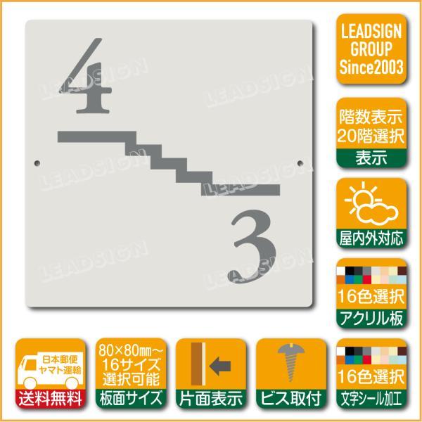 階数表示板 左回り階段 踊り場 アクリル サイン プレート カッティング シート 切文字貼り 階数 表示 b1 デザイン ビス穴有り 安全標識 看板 DIY 建築 建設