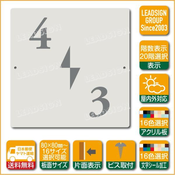 階数表示板 左回り階段 踊り場 アクリル サイン プレート カッティング シート 切文字貼り 階数 表示 b2 デザイン ビス穴有り 安全標識 看板 DIY 建築 建設