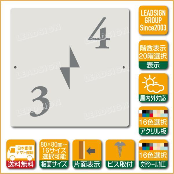 階数表示板 右回り階段 踊り場 アクリル サイン プレート カッティング シート 切文字貼り 階数 表示 b2 デザイン ビス穴有り 安全標識 看板 DIY 建築 建設