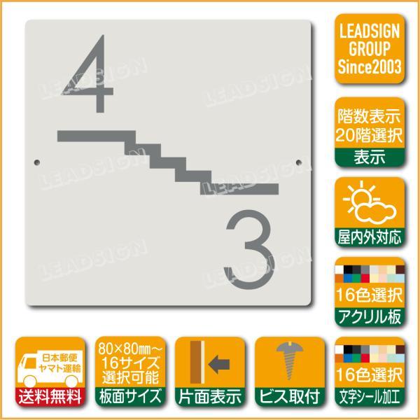 階数表示板 左回り階段 踊り場 アクリル サイン プレート カッティング シート 切文字貼り 階数 表示 c1 デザイン ビス穴有り 安全標識 看板 DIY 建築 建設