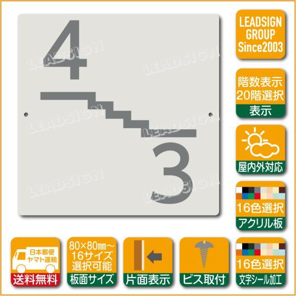 階数表示板 左回り階段 踊り場 アクリル サイン プレート カッティング シート 切文字貼り 階数 表示 e1 デザイン ビス穴有り 安全標識 看板 DIY 建築 建設