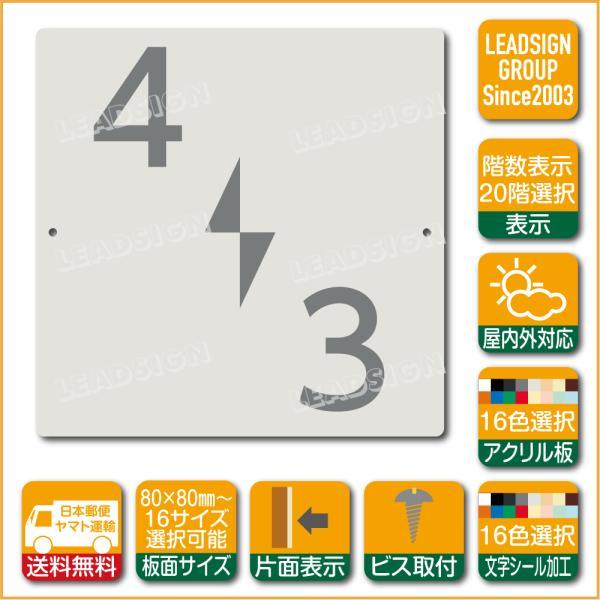 階数表示板 左回り階段 踊り場 アクリル サイン プレート カッティング シート 切文字貼り 階数 表示 e2 デザイン ビス穴有り 安全標識 看板 DIY 建築 建設