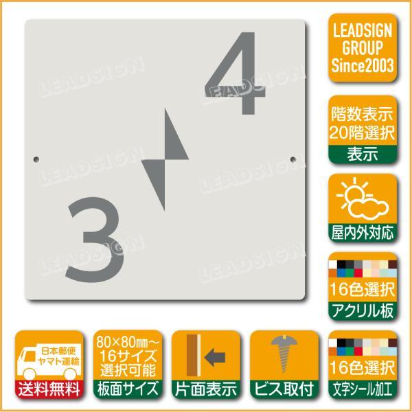 階数表示板 右回り階段 踊り場 アクリル サイン プレート カッティング シート 切文字貼り 階数 表示 e2 デザイン ビス穴有り 安全標識 看板 DIY 建築 建設