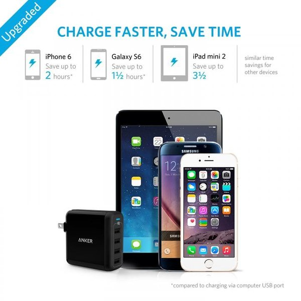 Anker PowerPort 4  40W 4ポート USB急速充電器 ブラック|appbankstore|04