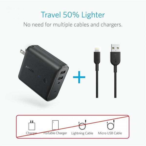 モバイルバッテリー Anker PowerCore Fusion 5000 USB急速充電器 ブラック|appbankstore|06
