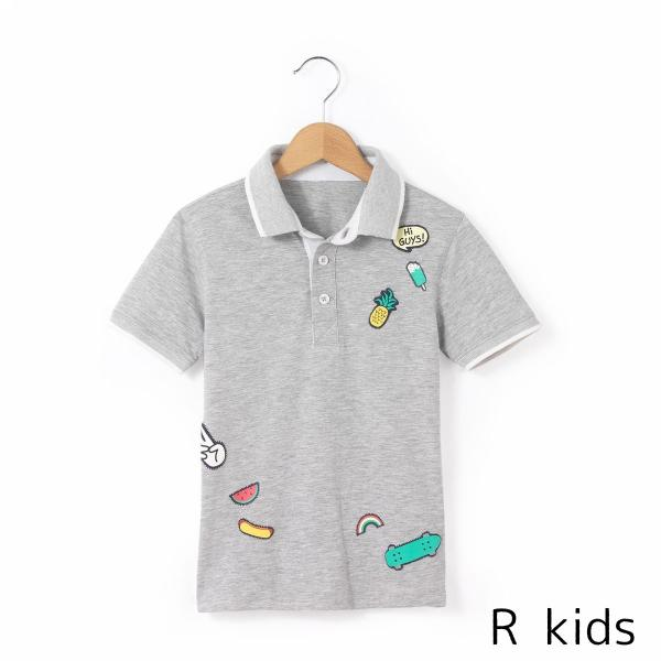 送料無料 海外ブランド子ども服 R kids アールキッズ ワッペン プリント ポロシャツ ポロ シャツ