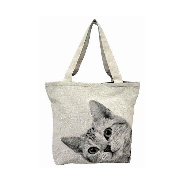 トートバッグ 猫 A4 通勤 通学 サブバッグ ねこバッグ ジャガード織り BAG ルックCAT 猫好き neko|applemint-zakka2