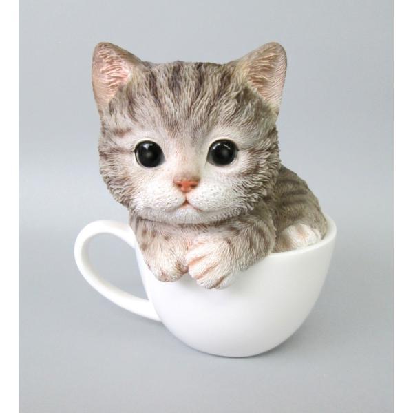 猫雑貨 レジン製ネコ 置物 ティーカップ キャット アメショ neko applemint-zakka2
