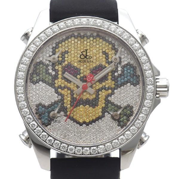 中古A/美品 JACOB&COジェイコブ5タイムゾーンスカルダイヤクオーツメンズ腕時計ブラック20229398