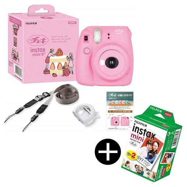 富士フィルム instax mini 8+ ストロベリー + フィルムセット インスタントカメラ チェキ(純正ショルダーストラップ付)