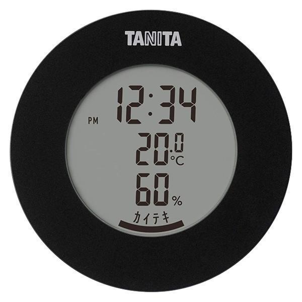 TANITA タニタ TT-585-BK 温度計 湿度計 黒 デジタル 温湿度計 ブラック ラウンド型 丸形 傾斜付 見やすい マグネット 置き掛け
