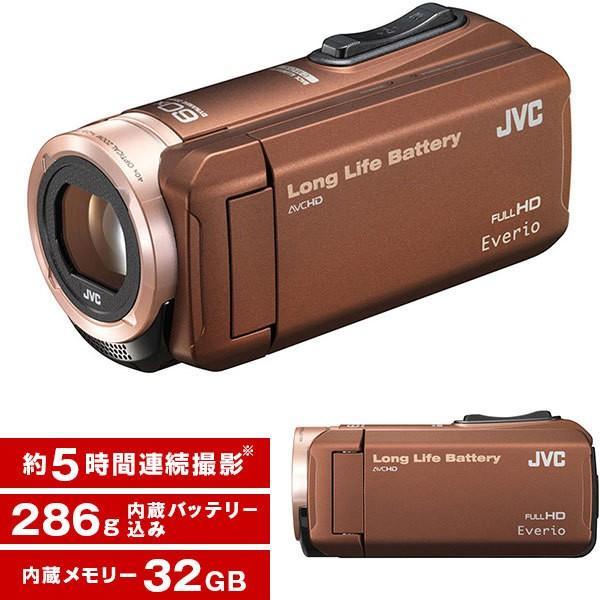 長時間録画 結婚式 旅行 (ビクター/VICTOR) 小さい JVC 32GB 海 (エブリオ) 小型 出産 運動会 ビデオカメラ Everio GZ-F100-T 約5時間連続使用 ブラウン 大容量バッテリー 学芸会 プール 【送料無料】