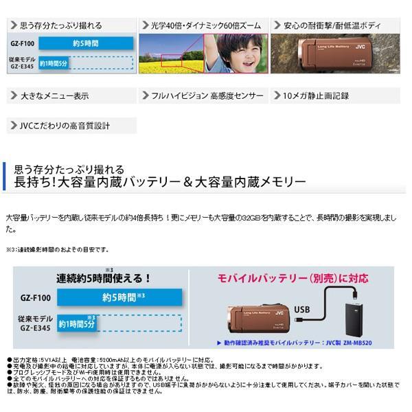 JVC (ビクター/VICTOR) ビデオカメラ 32GB 大容量バッテリー 小型 ハイビジョンメモリームービー Everio フルハイビジョン ブラウン GZ-F100-T|aprice|06