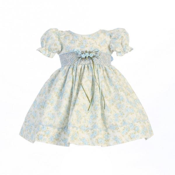 5f83a2f246166 ベビードレス パーティードレス インポート Lito リト ブルー小花 クラシカルベビードレス 女の子 新生児ドレス お祝い ...