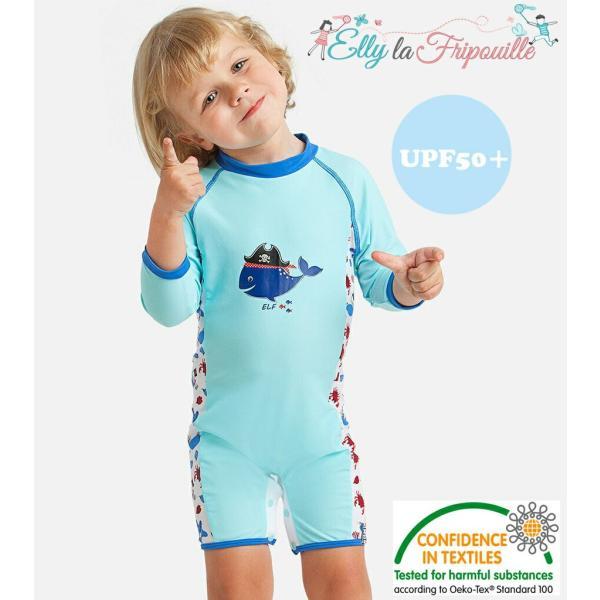 ベビー インポート 水着 Elly La Fripouille くじら ロンパース型 キッズ水着 子供水着 70 80 90 ベビースイミング Baby Kids ワンピース水着|apricos