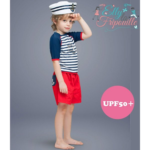 ベビー インポート 水着 Elly La Fripouille ドーヴィル ラッシュガード&パンツ水着セット マリン  子供水着 ベビースイミング Baby Kids |apricos
