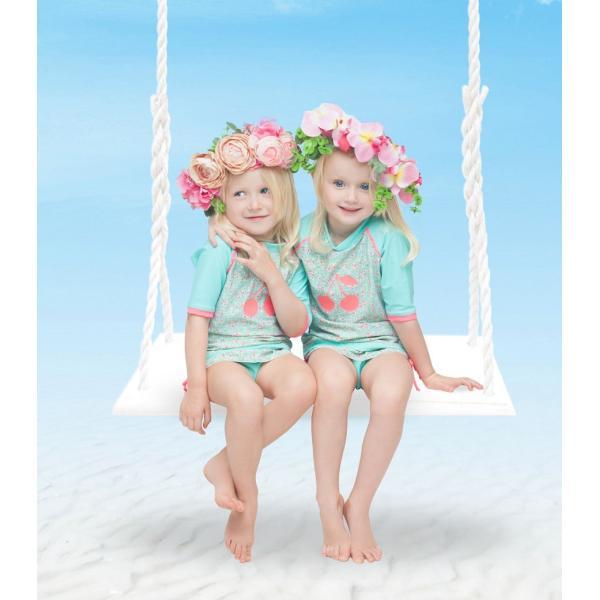 ベビー インポート 水着 Elly La Fripouille 秘密の花園 ラッシュガード&パンツ水着セット 子供水着 ベビースイミング Baby Kids チェリー柄|apricos|02