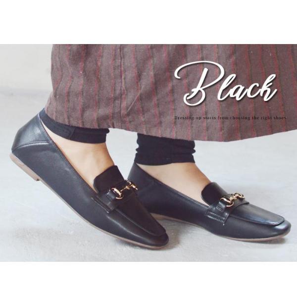 レディース ビットローファー フラット パンプス ローファー スクエアトゥ 痛くない 歩きやすい 履き易い フォーマル カジュアル キレイめ お洒落 大人 女性 靴|apricot-town|12