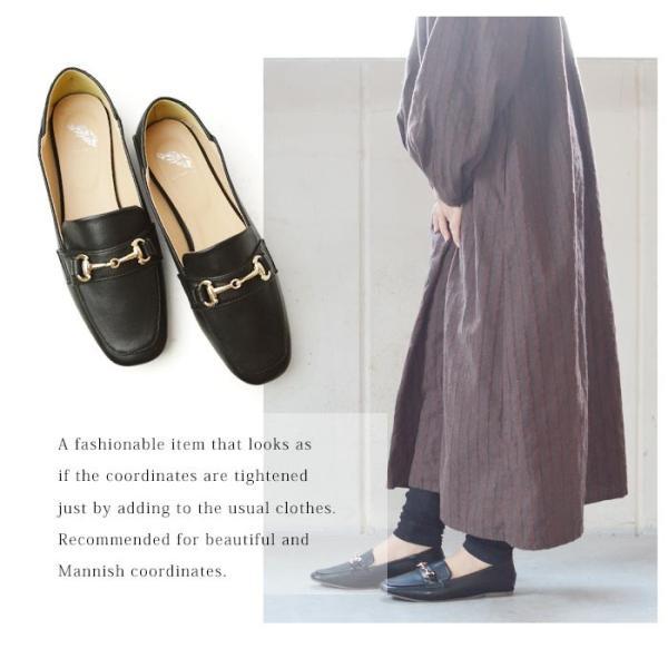 レディース ビットローファー フラット パンプス ローファー スクエアトゥ 痛くない 歩きやすい 履き易い フォーマル カジュアル キレイめ お洒落 大人 女性 靴|apricot-town|13