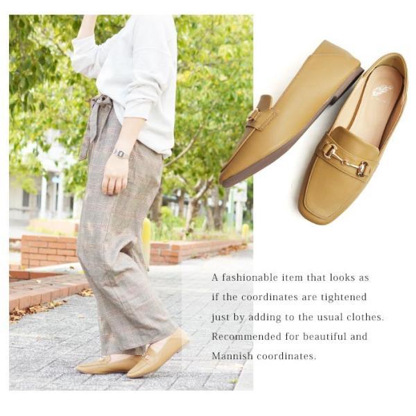 レディース ビットローファー フラット パンプス ローファー スクエアトゥ 痛くない 歩きやすい 履き易い フォーマル カジュアル キレイめ お洒落 大人 女性 靴|apricot-town|15