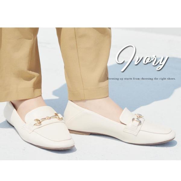レディース ビットローファー フラット パンプス ローファー スクエアトゥ 痛くない 歩きやすい 履き易い フォーマル カジュアル キレイめ お洒落 大人 女性 靴|apricot-town|16