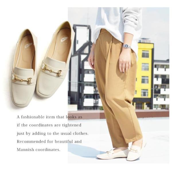 レディース ビットローファー フラット パンプス ローファー スクエアトゥ 痛くない 歩きやすい 履き易い フォーマル カジュアル キレイめ お洒落 大人 女性 靴|apricot-town|17