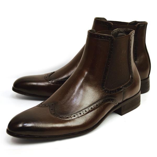 メンズ ブーツ サイドゴアブーツ メンズブーツ ショートブーツ ワークブーツ ドレスシューズ フォーマル 革靴 ビジネス ヴィンテージ ウイングチップ 靴 ジーノ apricot-town 03