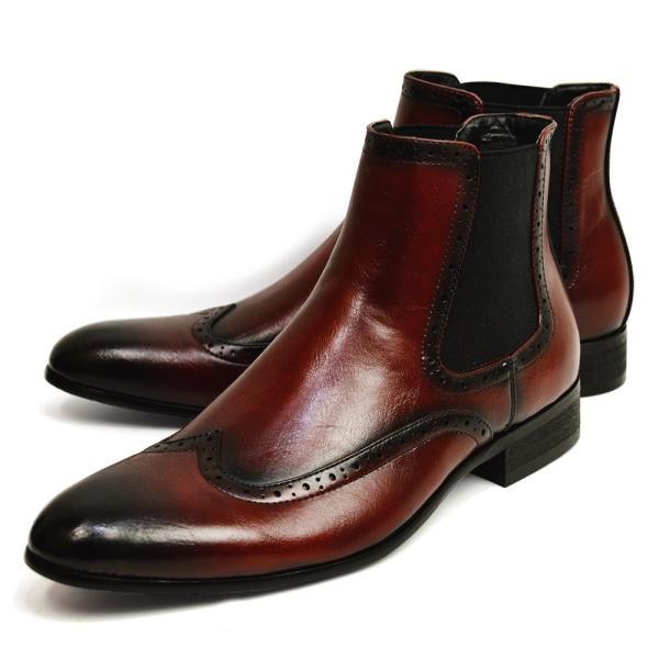 メンズ ブーツ サイドゴアブーツ メンズブーツ ショートブーツ ワークブーツ ドレスシューズ フォーマル 革靴 ビジネス ヴィンテージ ウイングチップ 靴 ジーノ apricot-town 04