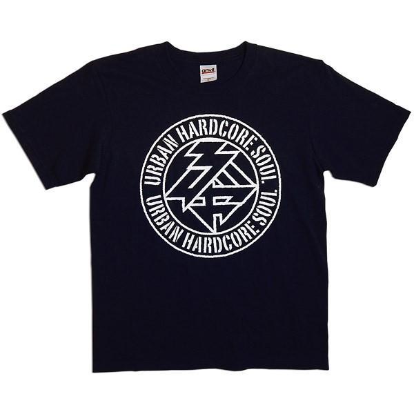 驢馬:URBAN HARDCORE SOUL ロゴTシャツ/ネイビー/キッズL【ファッション バンド Tシャツ】|aprilfoolstore